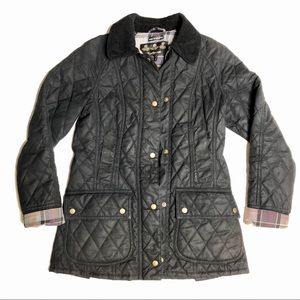 Barbour black Quilted Waxed Cotton Jacket US4